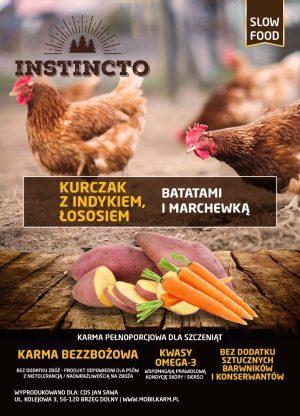 Instincto Kurczak z indykiem, łososiem i batatami dla szczeniąt