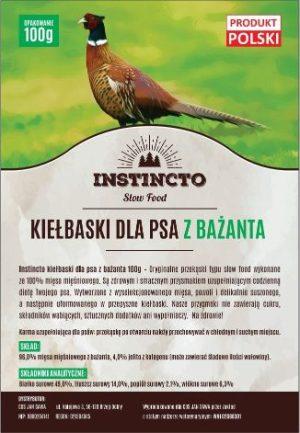 Instincto Kiełbaski dla psa z bażanta 100g