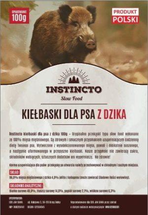 Instincto Kiełbaski dla psa z dzika 100g
