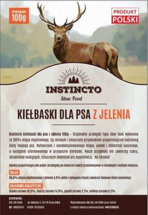 Instincto Kiełbaski dla psa z jelenia 100g