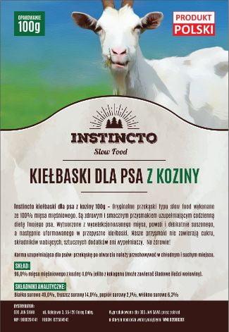 Instincto Kiełbaski dla psa z koziny 100g