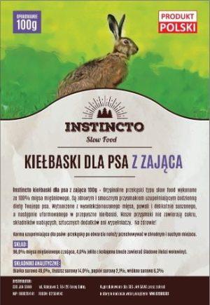 Instincto Kiełbaski dla psa z zająca 100g