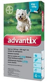Bayer Advantix krople dla psów od 4 do 10 kg przeciw kleszczom, pchłom i komarom