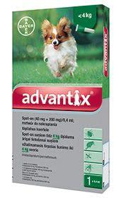 Bayer Advantix krople dla psów do 4 kg przeciw kleszczom, pchłom i komarom